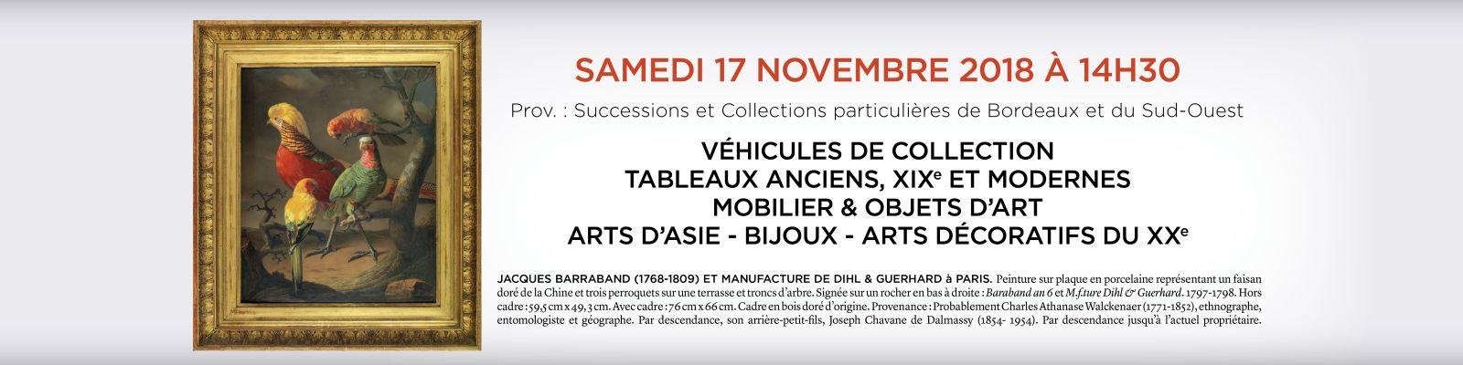 Vente aux enchères Bordeaux 17 novembre 2018
